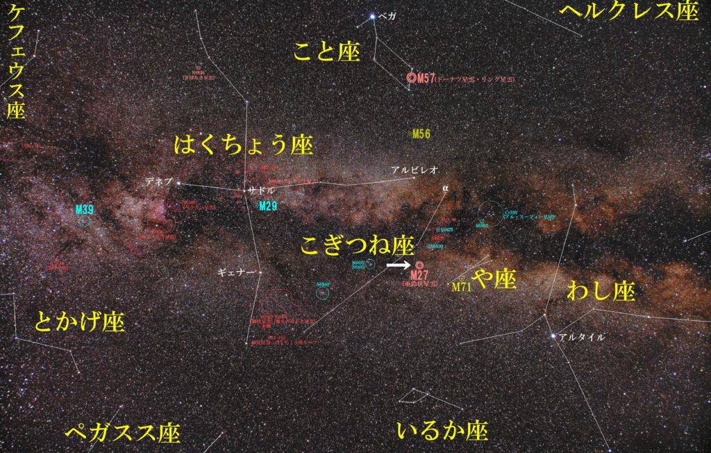 こぎつね座のメシエ天体の位置がわかる写真星図です。惑星状星雲のM27(あれい状星雲)が1つあります。