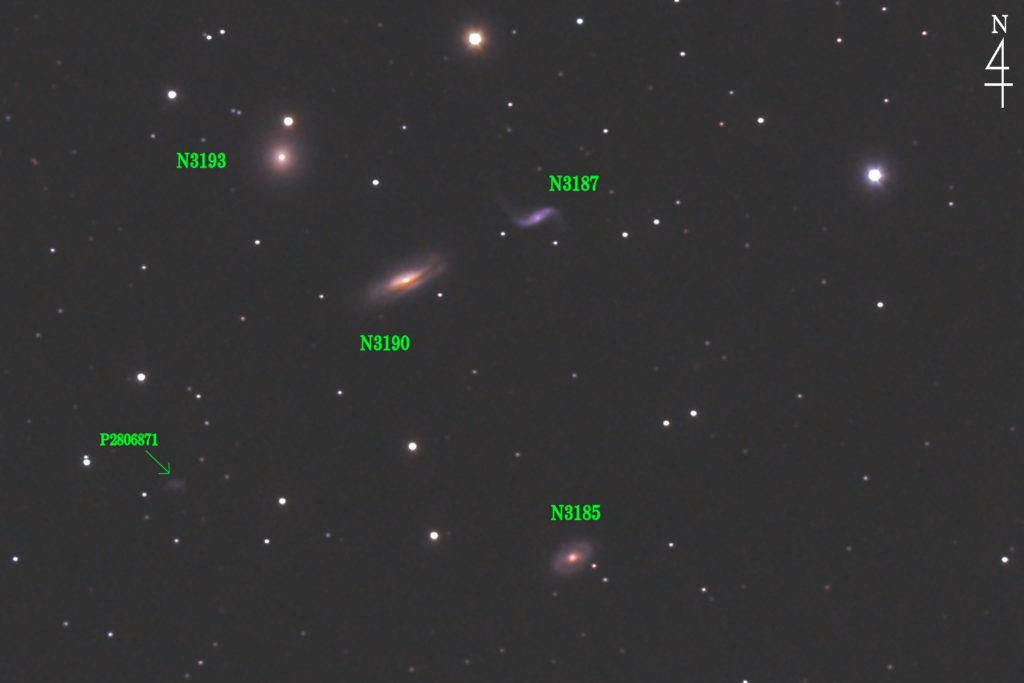 2020年04月25日19時47分40秒から口径15.2cmF5の反射望遠鏡LXD-55とPENTAX-KPでISO25600/露出30秒を84枚加算平均コンポジットしたフルサイズ換算約3587mmのヒクソンコンパクト銀河群44(NGC3190+NGC3187+NGC3194+NGC3185)の天体写真です。