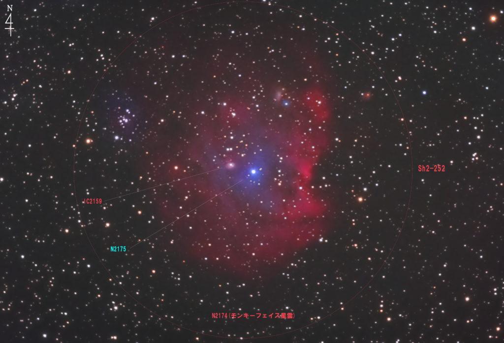 2020年10月21日00時42分16秒からミードの反射望遠鏡LXD55とリコーの一眼レフカメラのPENTAX KPでISO25600/F5/露出30秒で撮影して88枚を加算平均コンポジットしたフルサイズ換算約1772mmのNGC2174(モンキー星雲)の写真星図です。