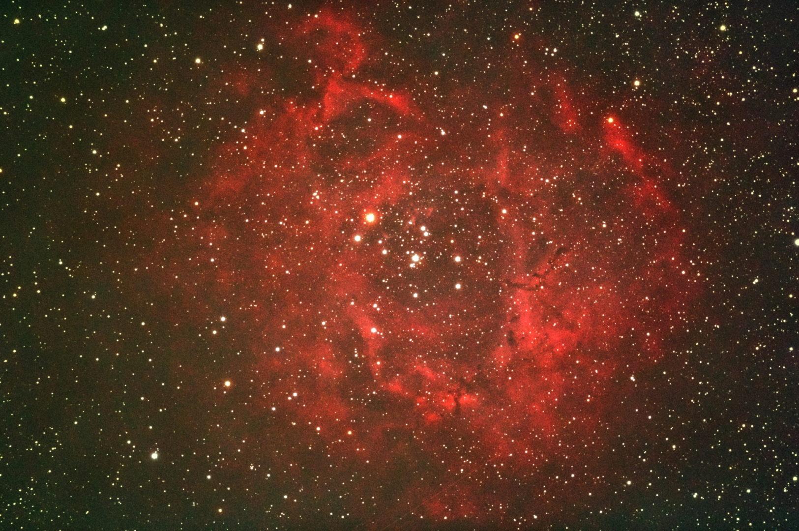 口径15.2cm反射望遠鏡(LXD-55)/F5/PENTAX-KP/ISO25600/カメラダーク/フラットエイドでフラット/露出20秒×29枚を加算平均コンポジットした2017年09月26日04時22分38秒から撮影したNGC2237(バラ星雲)の天体写真です。