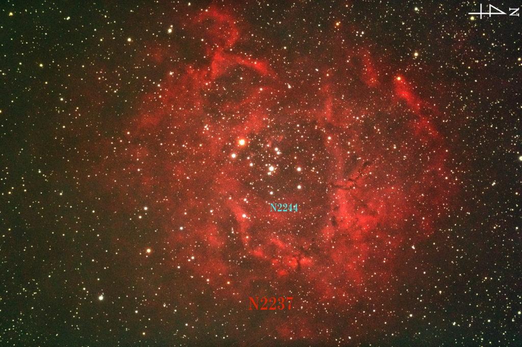 一眼レフカメラと反射望遠鏡で2017年09月26日04時22分38秒から撮影したNGC2237(バラ星雲)の天体写真です。