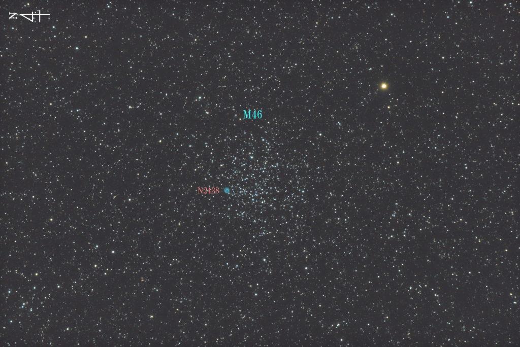 2017年10月27日02時33分02秒から反射望遠鏡のLXD-55と一眼レフカメラのリコーPENTAX-KPでISO51200/露出10秒で撮影して27枚を加算平均コンポジットフルサイズ換算約1158mmのNGC2438とM46のメシエ天体写真です。