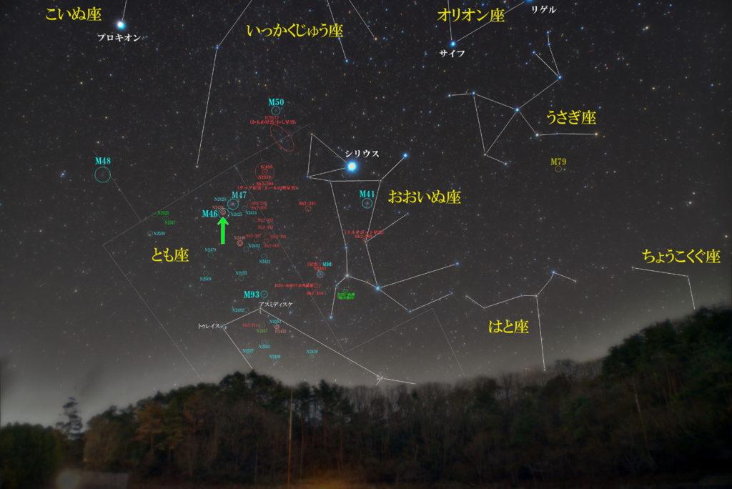 一眼カメラとカメラレンズで撮影したNGC2438と艫座(とも座)付近の天体の位置がわかる写真星図です。