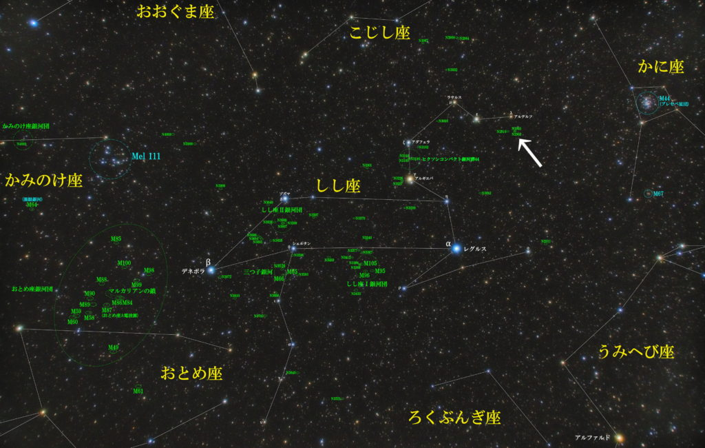 一眼カメラとカメラレンズで撮影したNGC2903とNGC2905の位置と獅子座(しし座)付近の天体がわかる写真星図です。