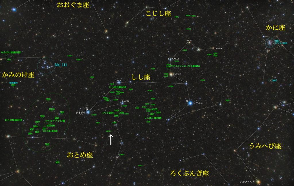 一眼カメラとカメラレンズで撮影した銀河のNGC3705の位置と獅子座(しし座)付近の天体がわかる写真星図です。