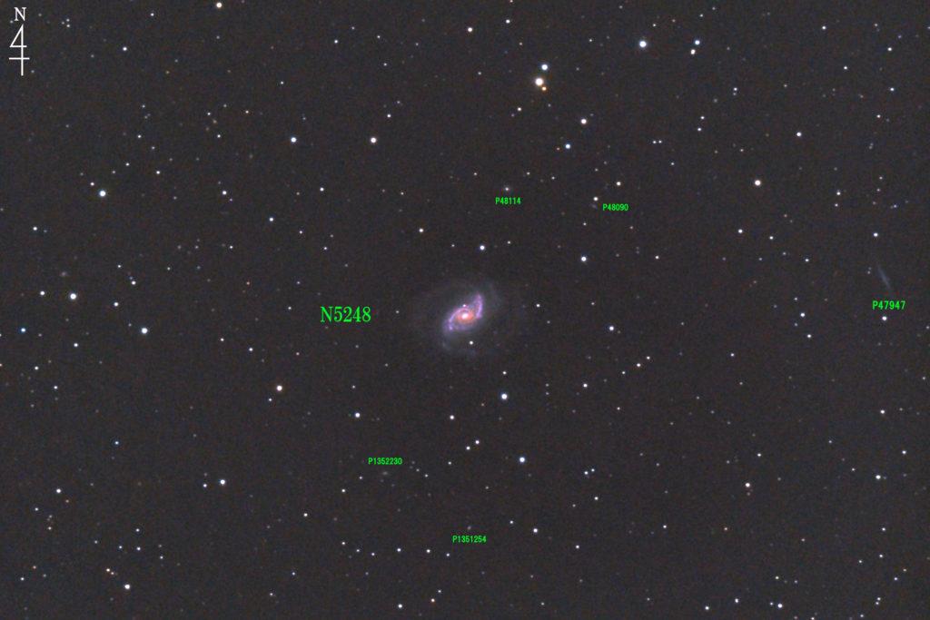 2020年04月25日23時28分41秒から口径15.2cmF5の反射望遠鏡LXD-55と一眼レフカメラのPENTAX-KPでISO25600/露出30秒で撮影して72枚を加算平均コンポジットした撮影したフルサイズ換算約2056mmのNGC5248の天体写真です。