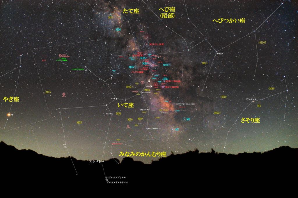 一眼レフとカメラレンズで撮影した射手座(いて座)のNGC6559+IC4685(Sh2-29)+IC1274(Sh2-31)+IC1275(Sh2-32)+IC4685+NGC6546の位置がわかる写真星図です。