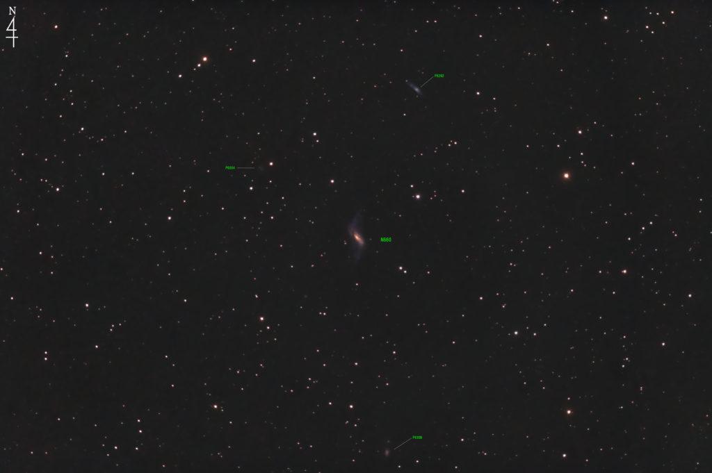 2020年10月20日21時12分58秒からミードの反射望遠鏡LXD55とリコーの一眼レフカメラのPENTAX KPでISO25600/F5/露出30秒で撮影して117枚を加算平均コンポジットしたフルサイズ換算約1256mmのNGC660の天体写真です。