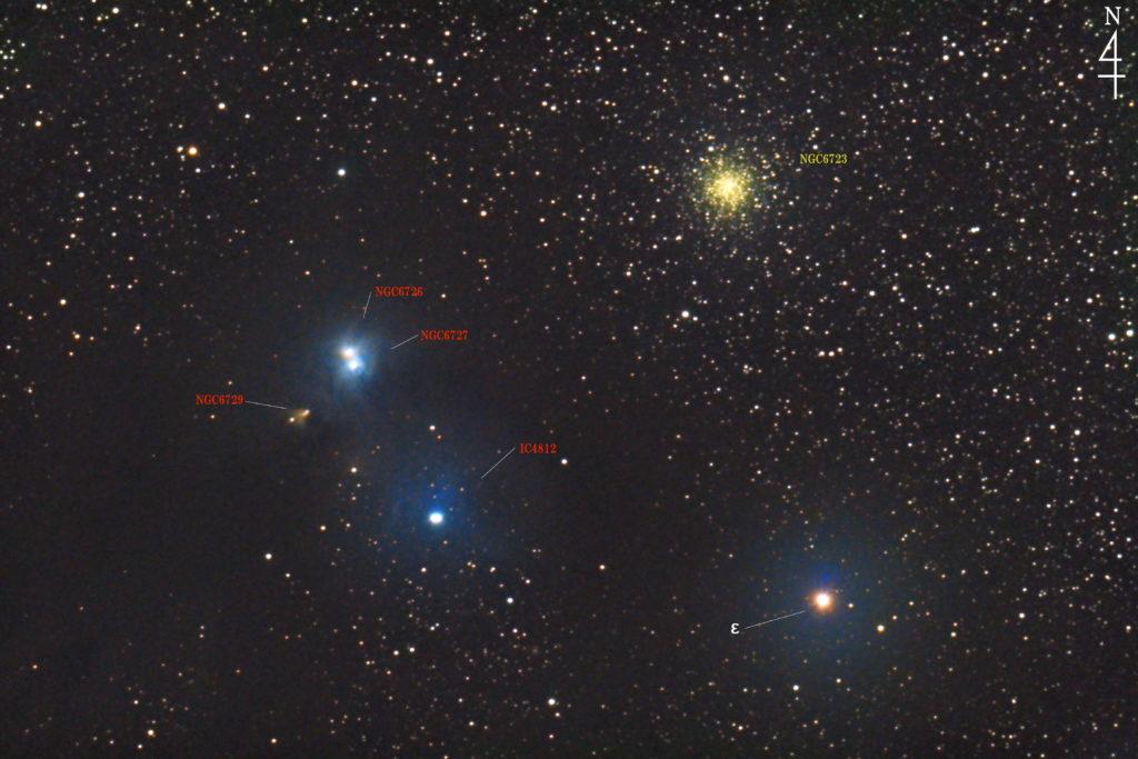 2020年05月30日01時03分30秒から口径15.2cmF5のミードの反射望遠鏡LXD-55とリコーの一眼レフカメラのPENTAX-KPでISO25600/露出20秒で撮影して178枚を加算平均コンポジットしたフルサイズ換算約1493mmの「NGC6723+NGC6726+NGC6727+NGC6729+IC4812」の天体写真です。
