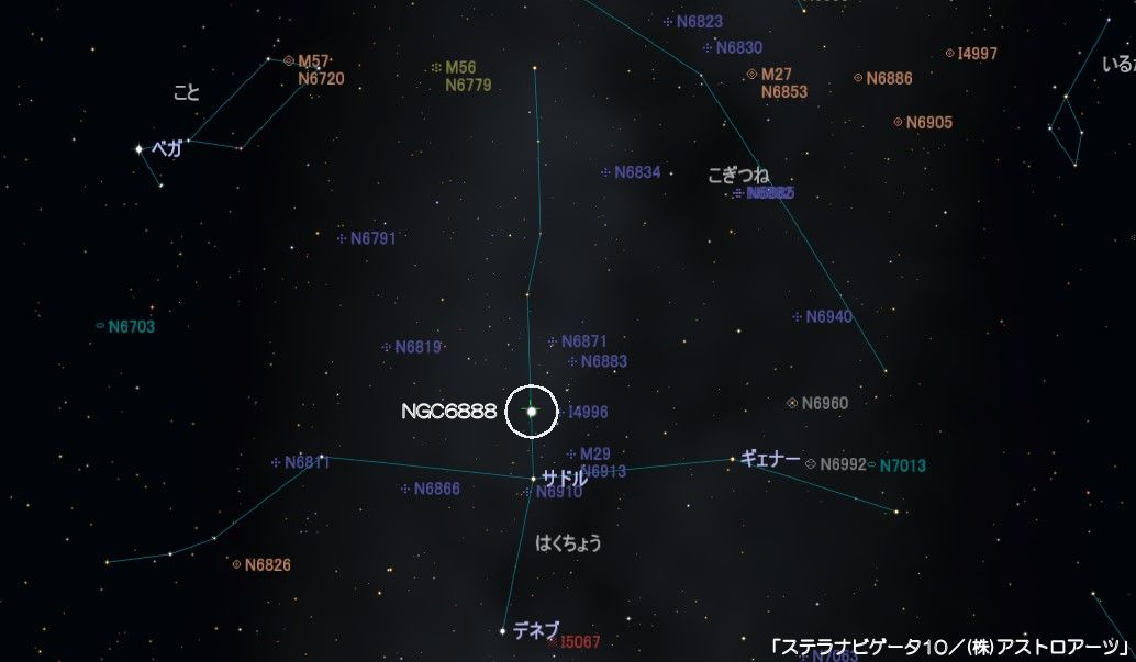 NGC6888(三日月星雲・クレセント星雲)の星図