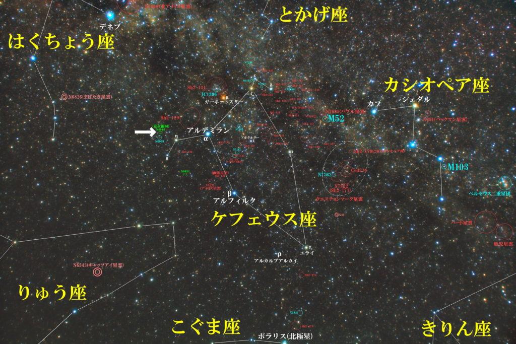 一眼レフカメラとズームレンズで撮影したNGC6946(花火銀河)の位置とケフェウス座周辺の天体がわかる写真星図です。