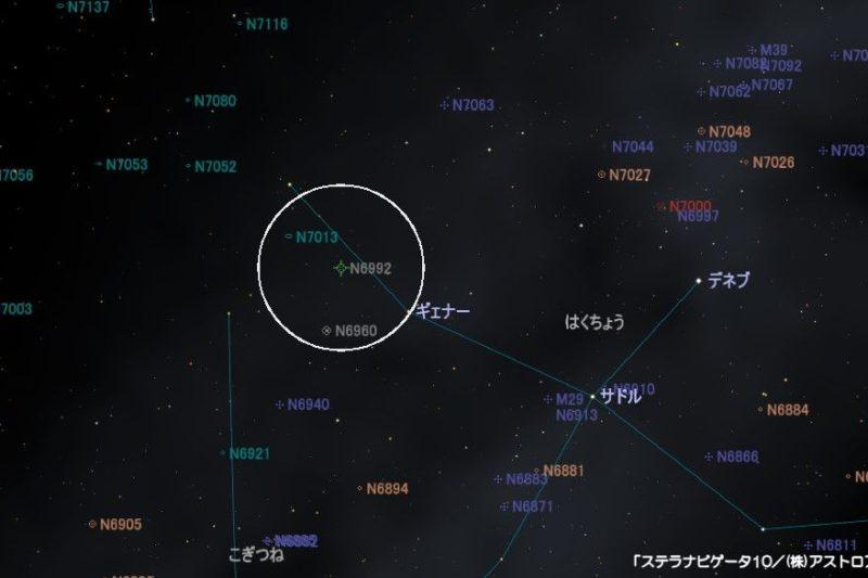 NGC6992(網状星雲)の星図