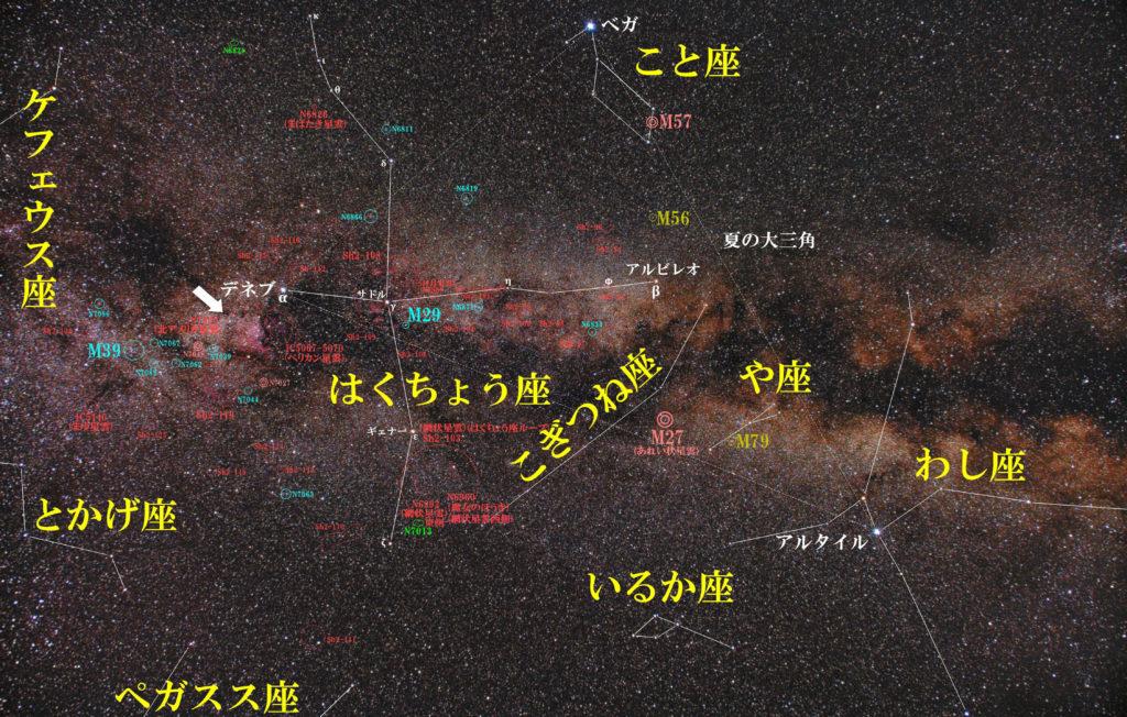 一眼レフカメラとズームレンズで撮影したNGC7000(北アメリカ星雲)の位置と白鳥座付近の天体がわかる写真星図です。