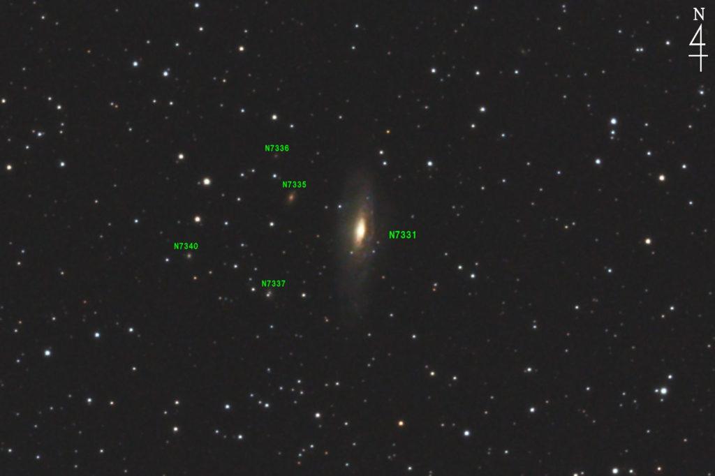 口径15.2cm反射望遠鏡(LXD-55)/F5/PENTAX-KP/ISO25600/カメラダーク/ソフトビニングフラット補正/露出20秒×28枚を加算平均コンポジットした2017年09月25日23時19分16秒から撮影したNGC7331(Caldwell 30) の天体写真です。