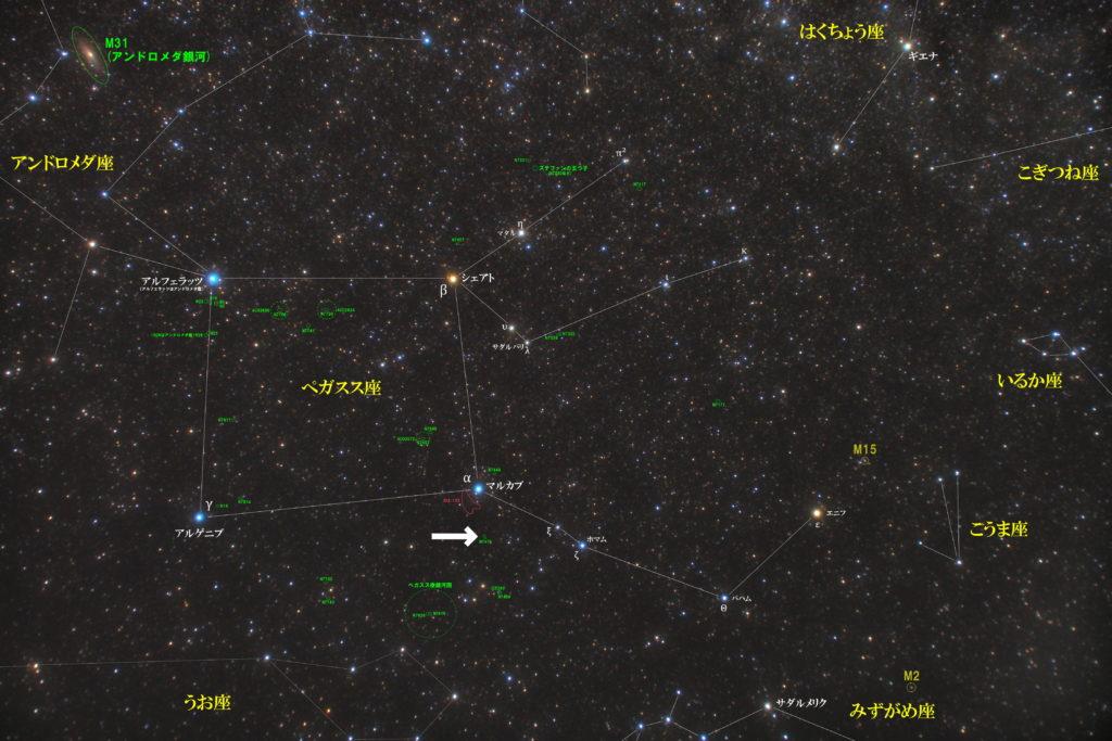 一眼レフカメラとズームレンズで撮影したNGC7479とぺガスス座周辺の天体がわかる写真星図です。