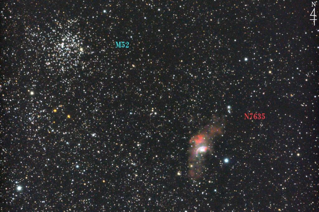 2017年09月25日00時22分44秒から口径15.2cmF5の反射望遠鏡LXD-55と一眼レフカメラのPENTAX-KPでISO25600/露出20秒で撮影して31枚を加算平均コンポジットしたフルサイズ換算約1725㎜のNGC7635(バブル星雲)とM52の天体写真です。