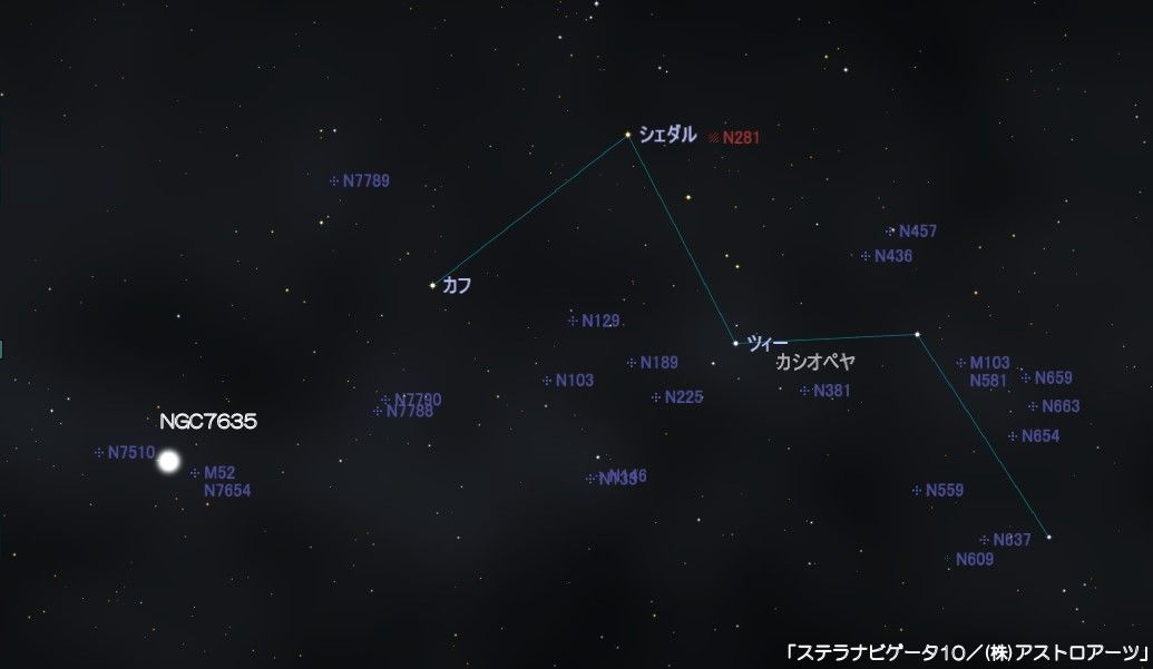 NGC7635(バブル星雲)の星図