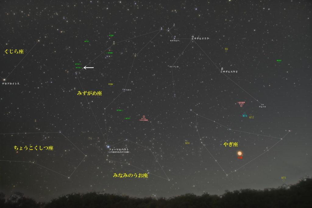 一眼レフカメラとズームレンズで撮影したNGC7723の位置とみずがめ座周辺の天体がわかる写真星図です。