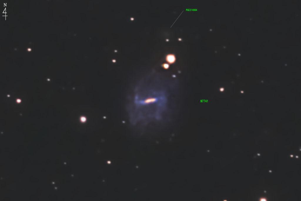 2020年09月14日20時19分22秒からミードの反射望遠鏡LXD55とリコーの一眼レフカメラのPENTAX KPでISO25600/F5/露出30秒で撮影して93枚を加算平均コンポジットしたフルサイズ換算約9156mmのNGC7741の天体写真です。。