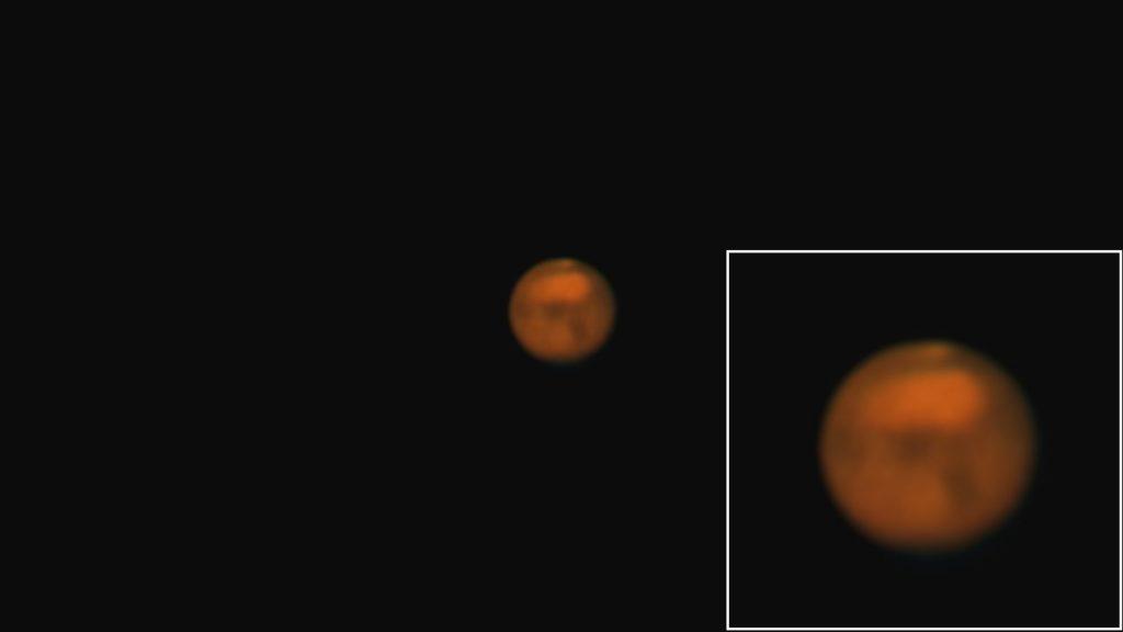 口径20㎝(SE200N)/F5/PENTAX KP/ISO1600/30fps/65秒//45枚スタックした2018年08月01日01時41分35秒から撮影した火星の天体写真です。