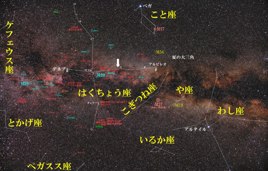 一眼レフカメラとズームレンズで撮影したチューリップ星雲(Sh2-101)の位置とはくちょう座周辺の天体がわかる写真星図です。