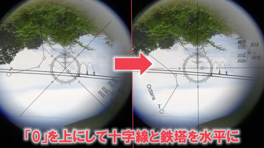 スカイメモSの極軸望遠鏡の中を覗いた写真です。左はレクチル内の十字線が斜めになっていますが、右は「0」が上になっていて尚且つ鉄塔と水平になっています。