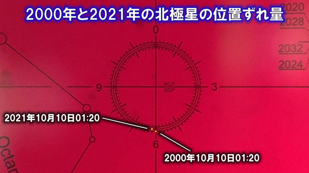 スカイメモS内のレクチル内の写真に2000年10月10日01:20と2021年10月10日01:20の北極星の位置が記されています。少し左上にズレています。