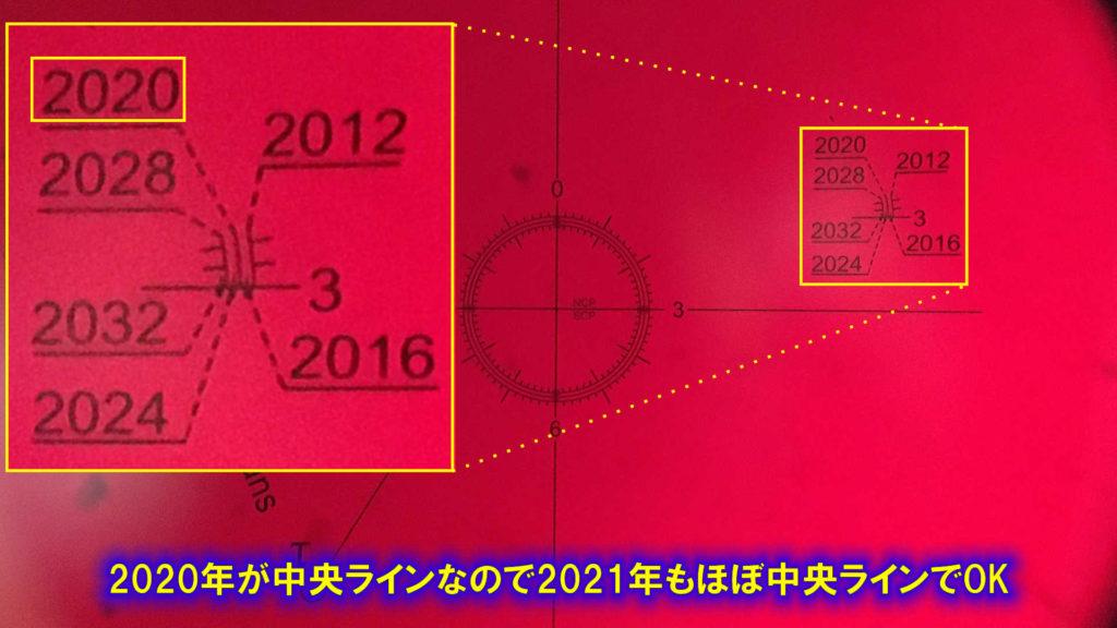 レクチル内の歳差位置の確認です。2020年は中央ラインになっているので、2021年もほぼ中央ラインでOKです。
