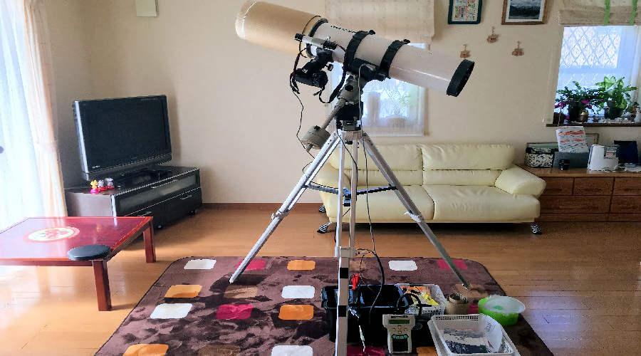 2017年7月現在の望遠鏡による天体撮影機材一式をセットした状態です。