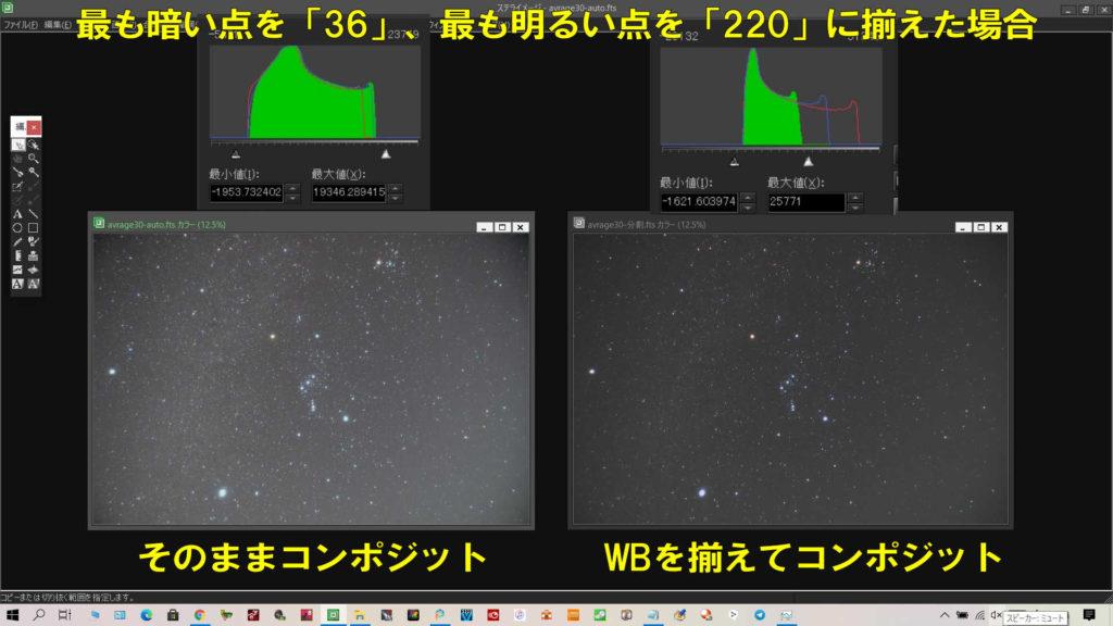 最も暗い点を「36」、最も明るい点を「220」して比較すると全然別の写真に見える程です。