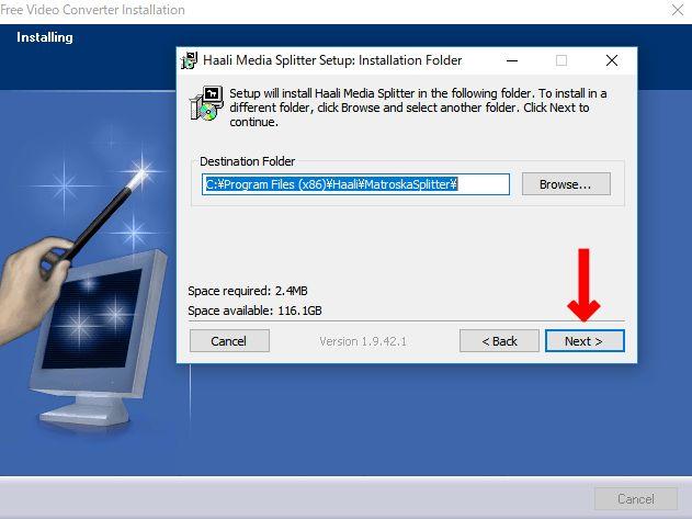Haali Media Splitterのインストール場所選択画面で「NEXT」をクリック。