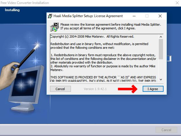 Haali Media Splitterをインストールするかの確認画面で「I agree」をクリック。