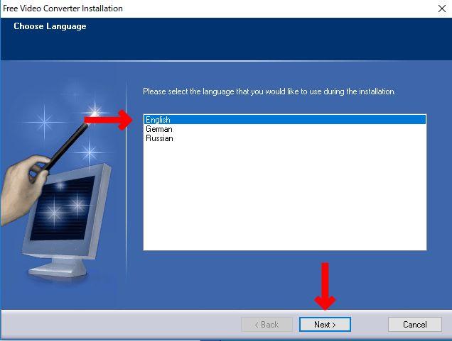 言語選択画面で英語を選択(free video comverter)