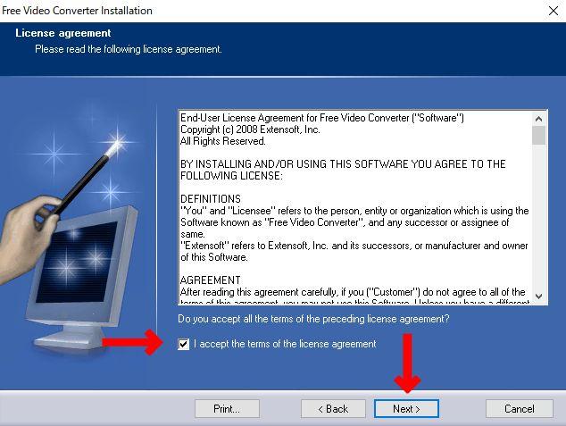 ライセンス画面が表示されるのでチェックボックスにチェックを入れて「NEXT」をクリック。