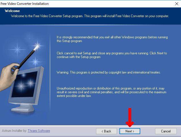 Wellcomeとガイド画面が表示されるので直ぐに「NEXT」をクリック。(free video converter)