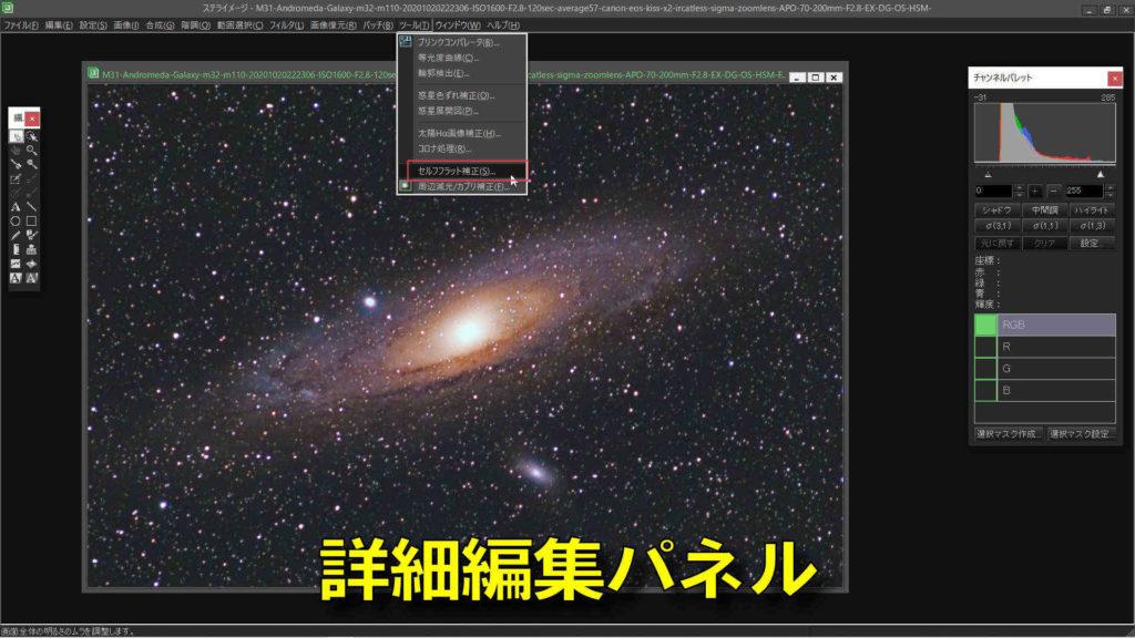 ステライメージ9の詳細編集パネルに「セルフフラット」の項目が増えました。
