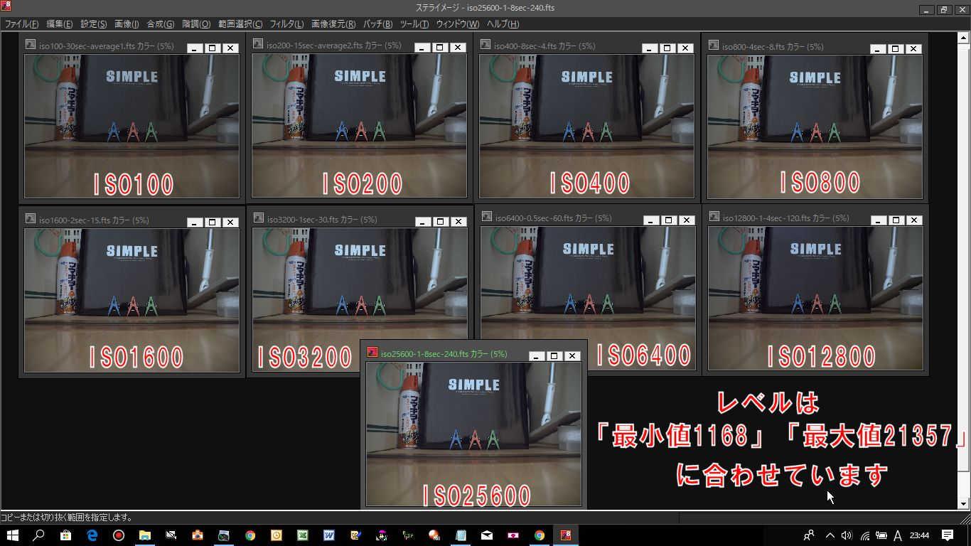 レベルを「最小値1168」と「最大値21357」に合わせたiso100~25600の9枚の検証写真