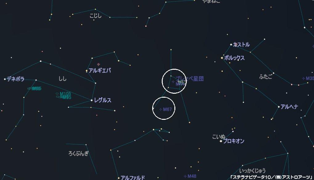 かに座のメシエ天体はM44(プレセペ星団)とM67(散開星団)があります。