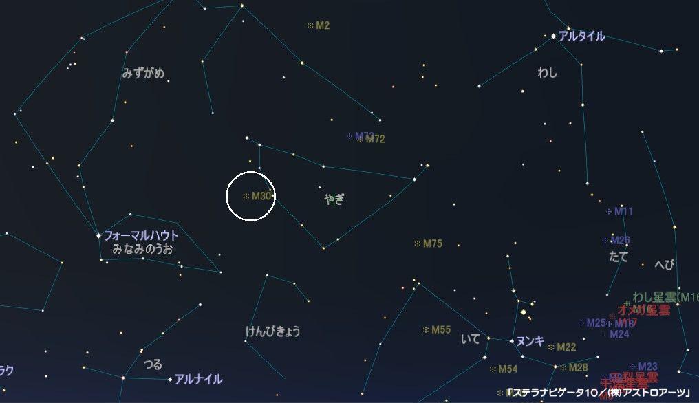やぎ座のメシエ天体はM30の球状星団です。
