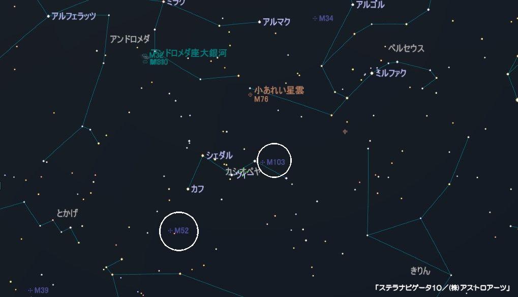 カシオペア座にはM52とM103の2つの散開星団があります。