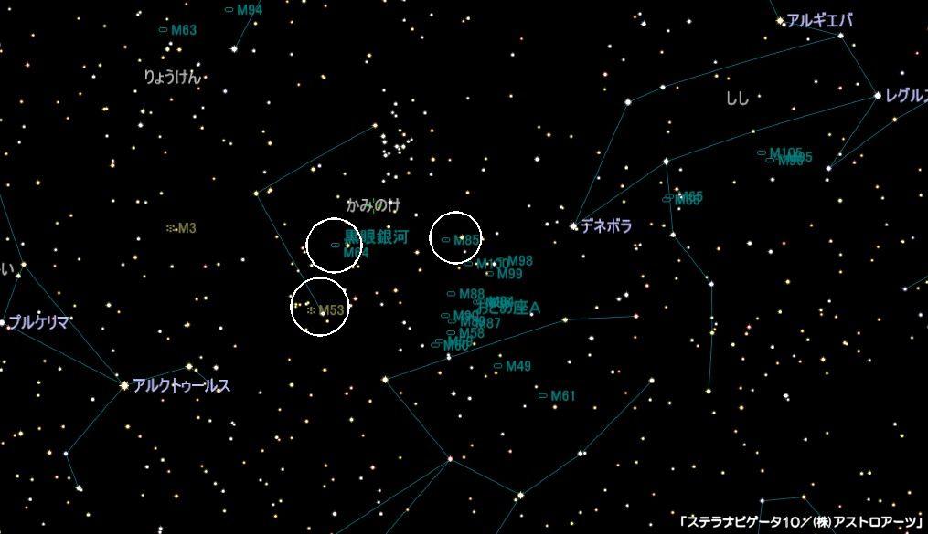 かみのけ座のメシエ天体はM53(球状星団)とM64(黒眼銀河)、M85があります。