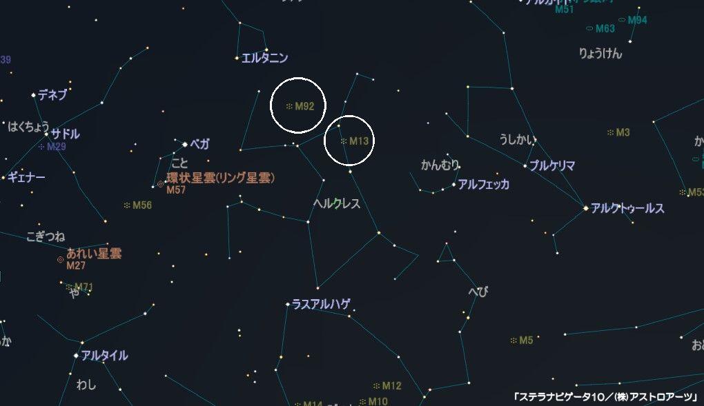 ヘルクレス座のメシエ天体はM13とM92の2つの球状星団があります。