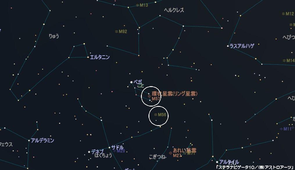 こと座のメシエ天体はM56の球状星団とM57(ドーナツ星雲・リング星雲・環状星雲)の2つがあります。