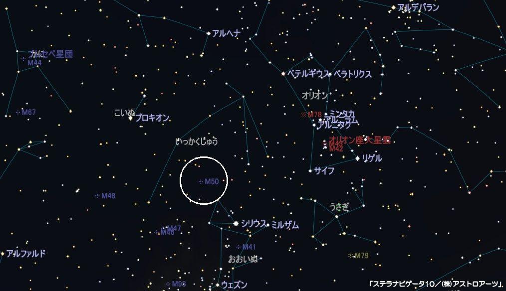 いっかくじゅう座のメシエ天体はM50の散開星団です。