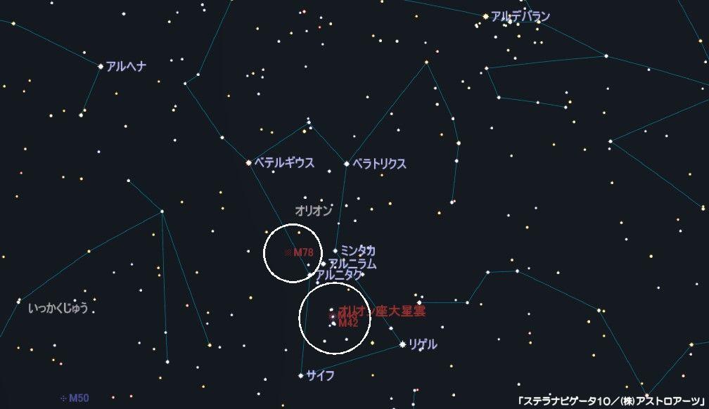 オリオン座のメシエ天体はM42(オリオン大星雲)とM43、M78(反射星雲)があります。