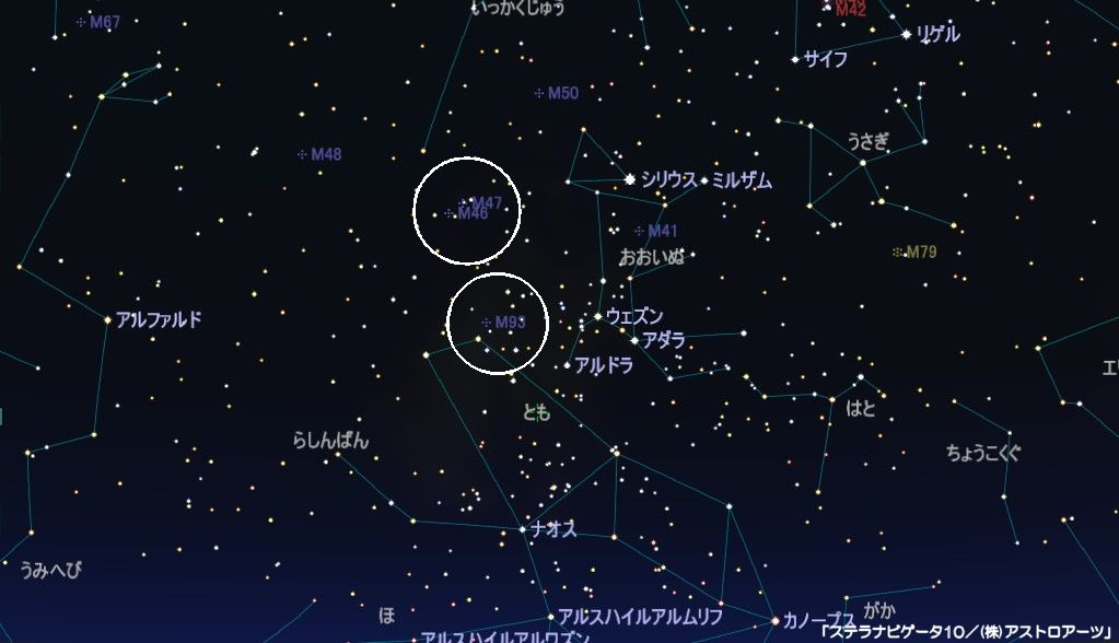 とも座のメシエ天体はM46-M47-M93の3つの散開星団があります。