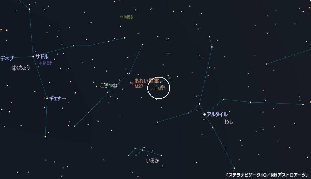 や座のメシエ天体はM71の球状星団です。