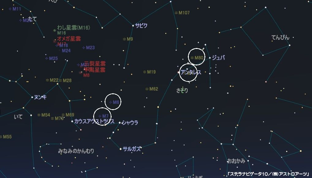 さそり座のメシエ天体はアンタレスの下にM4(球状星団)があり、上にはM80の球状星団。さそり座の下付近にはM6とM7の散開星団があります。