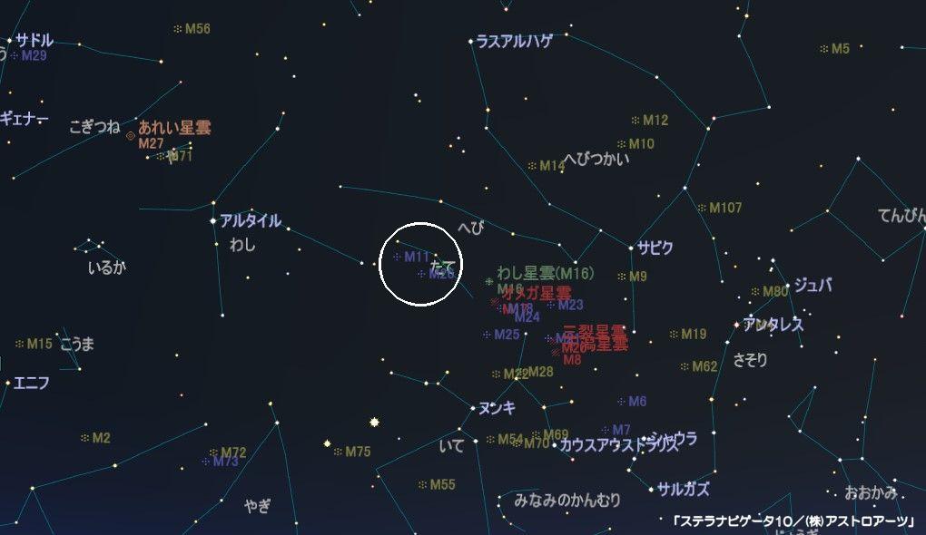たて座のメシエ天体はM11とM26の2つの散開星団があります。