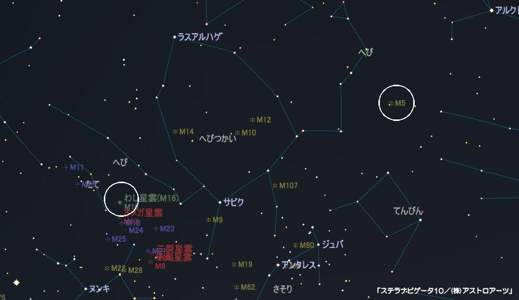 へび座のメシエ天体は球状星団M5とM16(わし星雲)です。